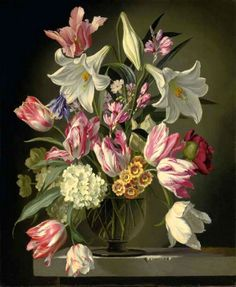 Gerald A. Cooper (1899-1975) —  Lilies and Tulips in a Glass Vase (575x700)