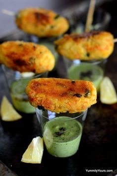 Cocktail Idli Kebabs with Chutney Shots. You wouldn't believe this is made from leftover Idlis!