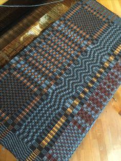 Barbara Pickel - overshot shawl on the loom. Cotton warp; wool/silk pattern weft.