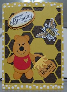 Pooh with his Hunny, done with the Hexagon Hive Thinlit Die,