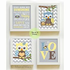 MuralMax  Modern Chevron Love  Owl Theme  You Are My Sunshine Collection  Unframed Prints  Set of 4  Size 8 x 10 ** You can get additional details at the image link.