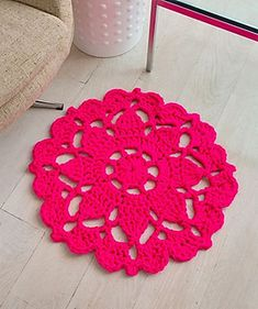 Crochet this beautifully patterned accent rug for a super splash of color! Perfect in front of a chair or next to a girl's bed, you'll love how quickly this bulky yarn works up so you can enjoy your rug.
