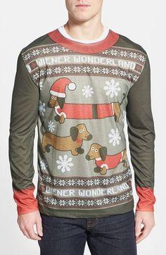 69fcb52dc Faux Real  Wiener Wonderland  Ugly Christmas Long Sleeve Novelty T-Shirt  (Men)