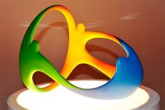 3D printed logo for the XXXI Olympic Games: Holding hands in #Rio — #Rio2016 #Olympics #3DPrinting