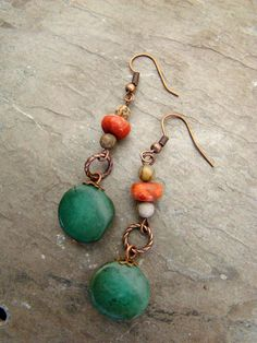 Natural Stone Dangle Earrings Turquoise and Jasper