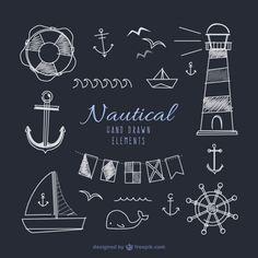 elementos desenhados mão marinheiro em vigor negro Vetor grátis