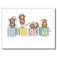 House-Mouse Designs Cute and Whimsical BABY blocks Post Card <3
