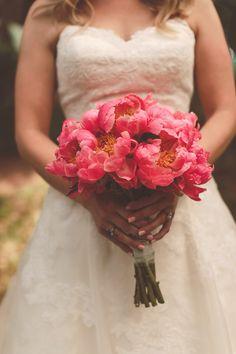 open peony bouquet, photo by Nessa K Photography http://ruffledblog.com/maryland-vintage-wedding #peonies #weddingbouquet #flowers
