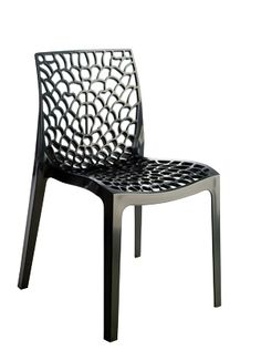GROOVY-CHARCOAL-GREY  Stacking All Weather Chair  Our transparent and solid contoured polypropylene chair is of amazing comfort and fun. Suitable for outdoor or indoor use. Stackable for easy storing and perfect for terrace, cafes, outdoor seating. Available in cristal clear – solid white-red-orange-charcoal black.