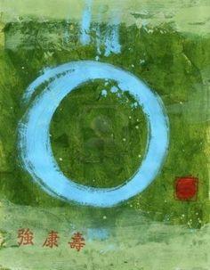 Sterke Tao. Blue Tao-symbool en Chinese karakters zin sterke, gezondheid en duurzaamheid. Stockfoto