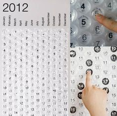 Bubble wrap calendar! This looks so fun. Would be a great way to start doing calendar with really young ones!