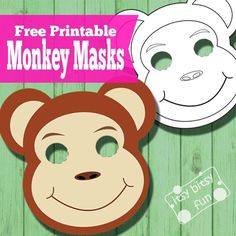 Free PDF Printable Monkey Mask and Monkey Mask Template to Color --Curious George, Monkey Puzzle, Night Monkey Day Monkey, Jungle Tales. Animal Mask Templates, Printable Animal Masks, Monkey Template, Monkey Pattern, Monkey Mask, Pet Monkey, Animal Masks For Kids, Mask For Kids, Rainforest Animals