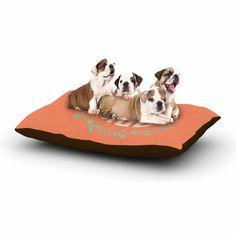 "Kess Original ""Classic Orange Wreath Monogram"" Green Illustration Dog Bed"