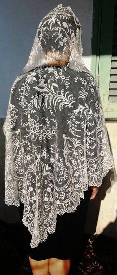 Velo Da Sposa Mantiglia Pizzo Duchesse XIX s Voile de Mariée Wedding Veil | eBay