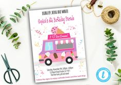 Editable Drive By Birthday Parade Invitation, Virtual Party Invite, Ice Creme Girl Pink Invitation, Instant Download Digital, YOU PRINT Pink Invitations, Invite, Party Printables, Pink Girl, Ice, Digital, Birthday, Handmade Gifts, Cards