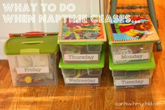 Quiet Boxes - I have struggled with naptime with my twins so now I am working on quiet time in thier room. This is the beginning of sanity for mommy. ;)