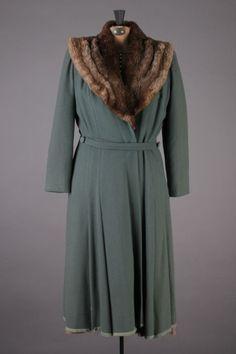 40s-50s Beautiful Slate Blue VTG Innes Wichita Wool Coat w/ Brown Fur. Approx. Size Medium - $119.99 via eBay