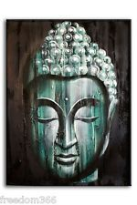 Efecto de madera verde Buda pintura al óleo sobre lienzo Bali Arte Original 80x60cm