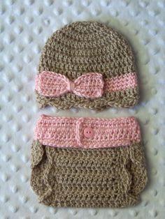 Baby Diaper Cover Set Crochet Baby Hat by crochethatsbyjoyce