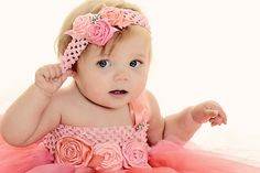 www.frostedproductions.com | #utah #photographer #studio #photography #cute #baby #girl #pink #dress #tulle #flowers