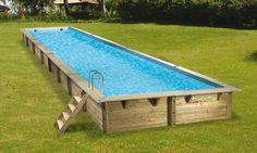 longue piscine hors sol en bois