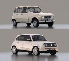 Retro styled Renault 4 by designer David Obendorfer. Mini Morris, Retro Cars, Vintage Cars, Vintage Style, Carros Suv, Futuristic Cars, Cute Cars, Small Cars, Chevrolet Impala