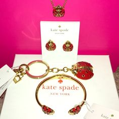 Kate Spade ♠️ Garden Party Lady Bug Collection NWT   SPRING COLLECTION Kate Spade ♠️ NWTs Garden Party Lady Bug Collection: Earrings, Bracelet, Necklace & Keychain •  smoke free home • 20% donated to the American Cancer Society • Thanks & Happy Poshing!  kate spade Jewelry