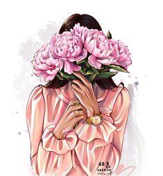 Portrait Illustration, Illustration Artists, Illustrations, Cute Illustration, Coffee Wallpaper Iphone, Fashion Artwork, Black Love Art, Flower Background Wallpaper, Girls With Flowers
