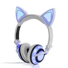 JINSERTA 2019 Cat Ear headphones LED Ear headphone cat earphone Flashing Glowing Headset Gaming Earphones for Adult and Children Cat Ear Headset, Gaming Earphones, Cat Headphones, Headphones Online, Sports Headphones, Cosplay Mignon, Wireless Bluetooth, Black Stud Earrings, Usb