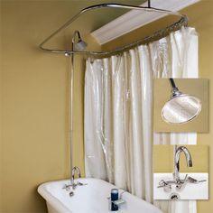 Clawfoot Tub Solid Brass Shower Conversion Kit   Clawfoot tub shower