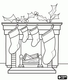Fireplace In Christmas With The Hung Socks And Decorations Coloring Page
