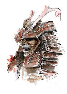 Samurai Warrior Japanese Armor Full Face Mask - Watercolor Painting - Mariusz Szmerdt