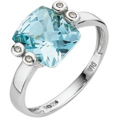 9 Carat White Gold Square Cushion Blue Topaz and Diamond Ring ($245) ❤ liked on Polyvore featuring jewelry, rings, accessories, blue topaz diamond ring, white gold jewelry, white gold diamond jewelry, blue topaz white gold ring and diamond rings