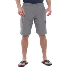Mens Moisture Wicking Quick Dry Fabric Breathable Lightweight Cargo Shorts  Large ** Details can be found by clicking on the image.