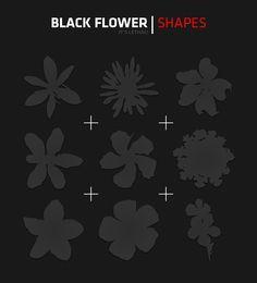 free download - photoshop shapes -Black Flower Shapes