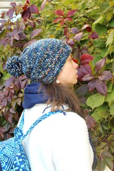 Evening. Hat knitted blue wool