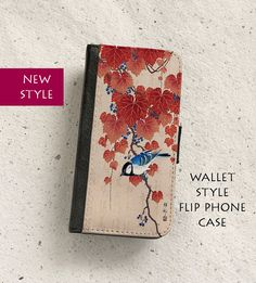 Vintage Japanese bird print Available as a black side hinged case for: iPhone 4/4S, 5/5S, 5C, SE, 6/6S, 6PLUS/6SPLUS, 7 & 7 PLUS Samsung Galaxy S4, S5, S6, S6Edge, S6 Edge Plus, S7, S7 Edge, Note 4, Note 5  Please select your option from the drop-down list on the right.  Protective, durable and lightweight case for your iphone. This wallet style flip case has an image printed onto fabric which flips open and shut with a magnetic tab thus protecting the vulnerable scree...