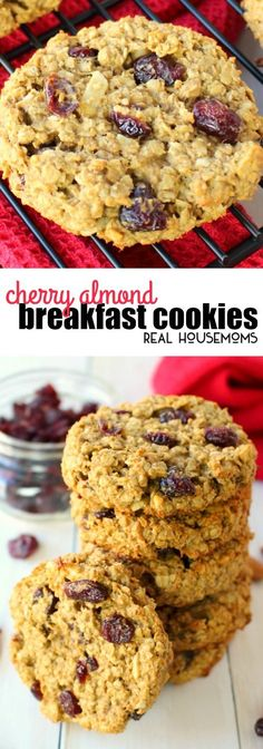 Healthy, high-protein Cherry Almond Breakfast Cookies are made with all-natural ingredients for the perfect on-the-go breakfast! via @realhousemoms