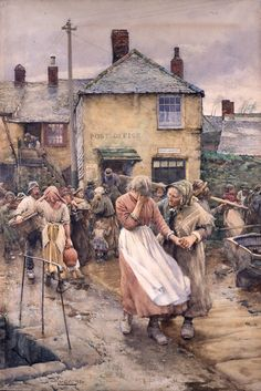 Walter Langley - Among the Missing - Scene in a Cornish Fishing Village (1884)