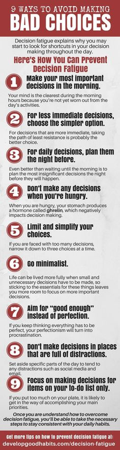 How to Avoid Bad Choices - 9 steps to prevent bad decisions stemming from decision fatigue | Self Help | Self Improvement | See more about decision fatigue and how to stop bad choices