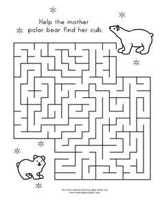 Fun Learning Printables for Kids Polar Bear Party, Bear Template, Artic Animals, Penguins And Polar Bears, Mazes For Kids, Bear Theme, Colouring Pages, In Kindergarten, Fun Learning