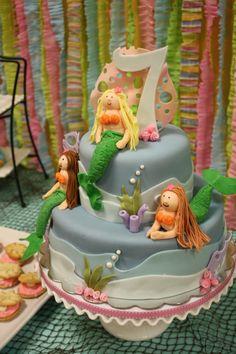 mermaid cake + ruffled streamer backdrop-cookies are cool idea too