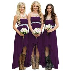 Fanciest Women' Strapless High Low Bridesmaid Dresses Wedding Party... ($60) ❤ liked on Polyvore featuring dresses, turquoise bridesmaid dresses, purple party dresses, purple strapless dress, hi low party dresses and hi low dress