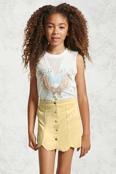 Forever 21 Girls - A faux suede skirt featuring a scalloped hem, a button-down front, high-polish snap-buttons, and a partially elasticized waist.