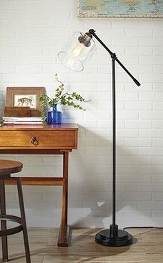 The CANVAS Quinn Floor Lamp will add an industrial design to any room.  Were seeing a lot of rustic styles, exposed bulbs and mid-century inspirations in lighting right now. Be sure to check out our new CANVAS Lighting Collection for more bright ideas.