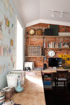 Home office - exposed brick.  | www.LewLewInnovations.com #lewlew #staging #style