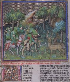 Hunting  from Gaston Phoebus' Book of Hunting Circa 1400
