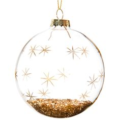 Glass bauble with gold star motif 8 cm