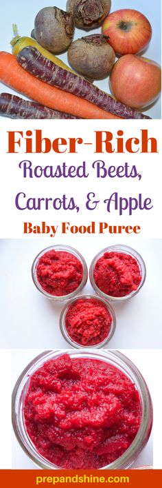 Homemade baby food - Roasted Beets, Apple, Carrot puree. Baby food recipe.