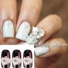 3pcs-Crystal-Rhinestone-Stud-Nail-Art-Decoration-Gold-Alloy-Golden-Rim
